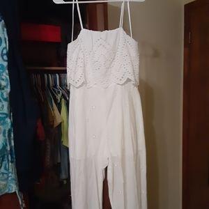 White Eyelet Jumpsuit